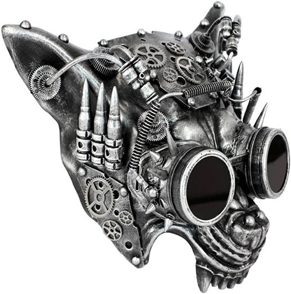 Silver Steampunk Wolf Half Mask Adult Animal Angry Dog Venetian Costume Acces.