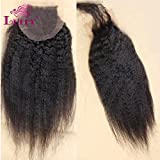 LUFFYWIG Virgin Brazilian Kinky Straight Hair 4*4 Full Lace Closure With Baby Hair Natural Color Closures Bleached Knots 10 Inch
