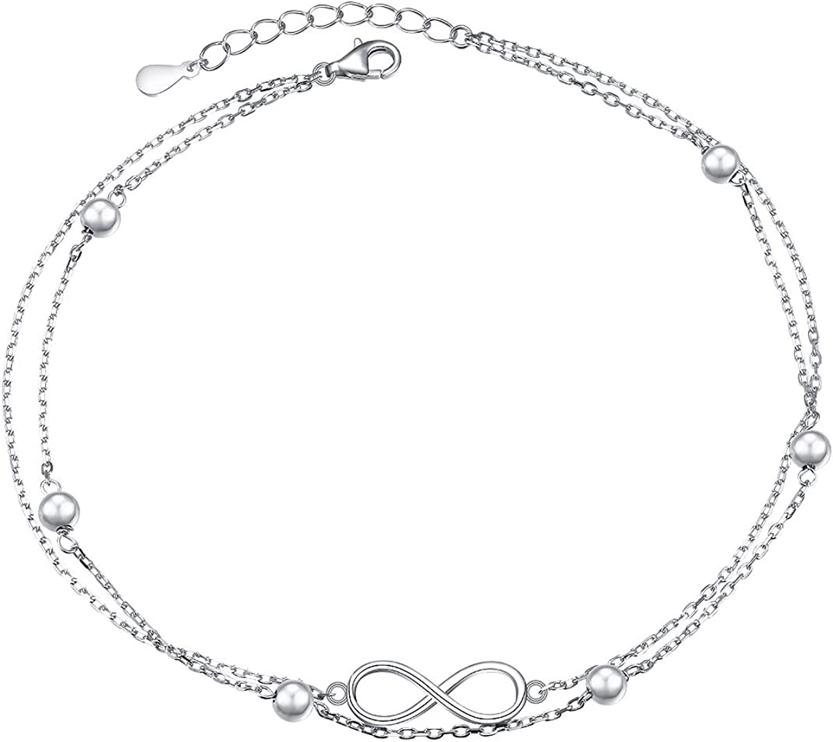 Flyow Anklet for Women S925 Sterling Silver Adjustable Foot Beaded Heart Charm Ankle Bracelet Anklets Jewelry