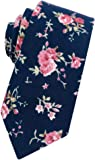 Mantieqingway Men's Cotton Printed Floral Neck Tie Skinny Ties