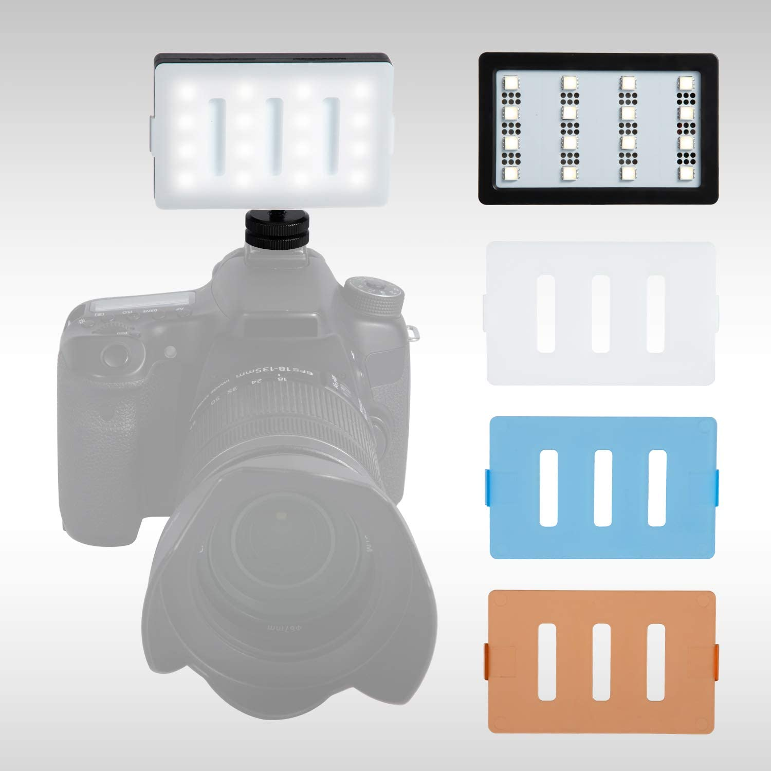 CRI95+ LED Video Light Panel Lighting Dimmable Pockable On-Camera Fill Light with 16 SMD Bulbs Rechargeable on Camera Light for DSLR Cameras Mini CRI95
