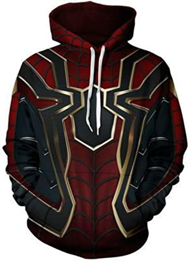 UK Kids Boys Avengers Infinity War Spiderman Sweater Hoodie Iron Spider Cosplay