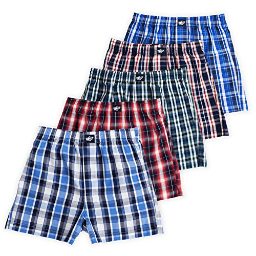 Lucky Boxers Boxer Shorts - Ryan Boys Boxer Shorts, 5-Pack, 100% Woven Combed Cotton, Encased Waistband, Plaid Grande, 4/5