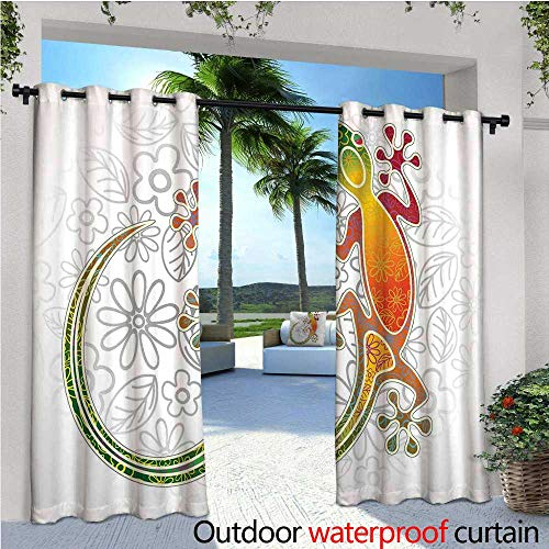 y Curtain for Pergola Native Southeast Asian Common House Gecko Moon Lizard Tropical Monster Graphic Design Thermal Insulated Water Repellent Drape for Balcony W120 x L108 Multi ()