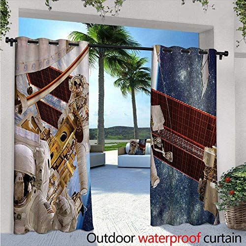 """Outer Space Outdoor- Free Standing Outdoor Privacy Curtain W84"""" x L108"""" International Station Scenery Science Deep Dark Matter Search on Earth Design for Front Porch Covered Patio Gazebo Dock Beach H"""