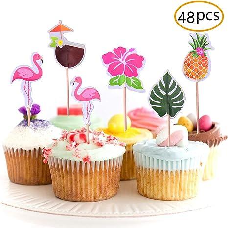 Miraculous Amazon Com Joyet 48 Pack Cupcake Toppers For Hawaiian Luau Summer Funny Birthday Cards Online Kookostrdamsfinfo
