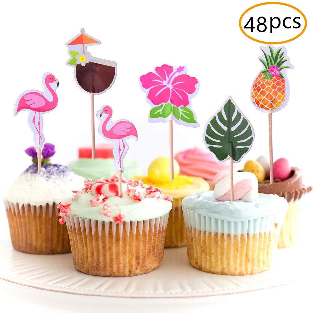 Amazon JOYET 48 Pack Cupcake Toppers For Hawaiian Luau Summer Flamingo Birthday Parties Cake Food Decoration Supplies Toys Games