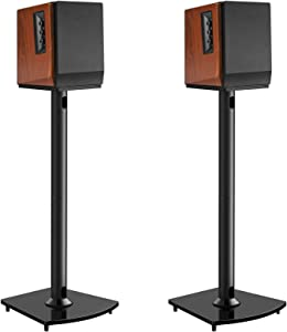 Surround Sound Speaker Stands 26 Inch Holds Satellite & Bookshelf Speakers to 22lbs (i.e.Polk Yamaha Edifier Bose Klipsch Sonos Sony and Samsung) Floor Speaker Mount with Cable Management Pair