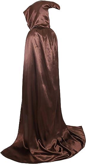 """VGLOOK Full Length Hooded Robe Cloak Long Velvet Cape Cosplay Costume 59/"""" Green"""