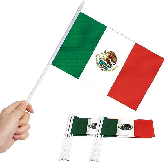 Anley Bandera de Palo de México, Bandera Mexicana de 5x8 Pulgadas (12 x 20 cm) con Mini asa de Mano con Poste sólido Blanco de 12