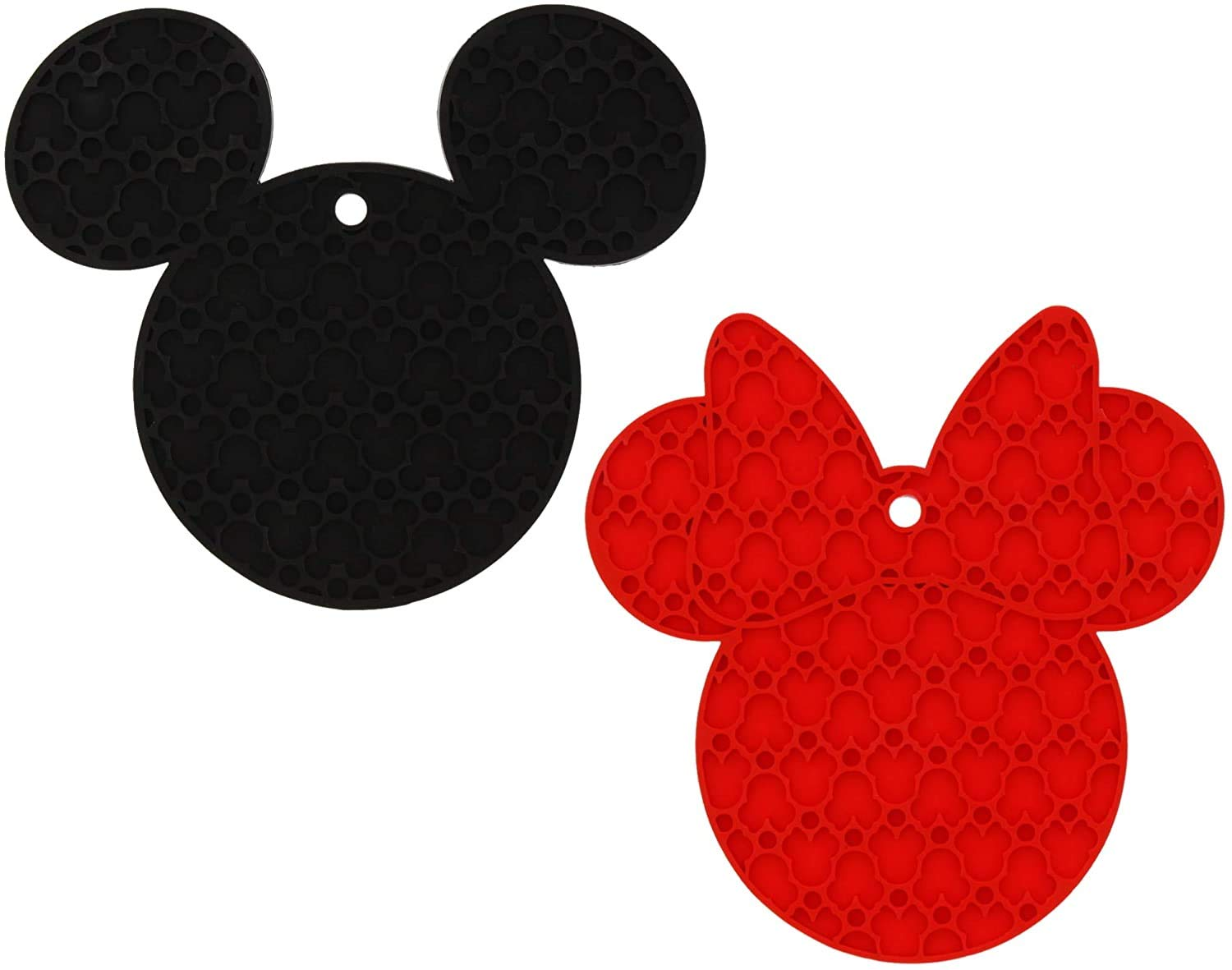 Disney Mickey and Minnie Mouse 100% Silicone Trivets, 2pk - Multipurpose Flexible Kitchen Tools that Serve as Pot Holders, Spoon Rest, Jar Opener, or Heat Resistant Hot Pads up to 500 degrees F