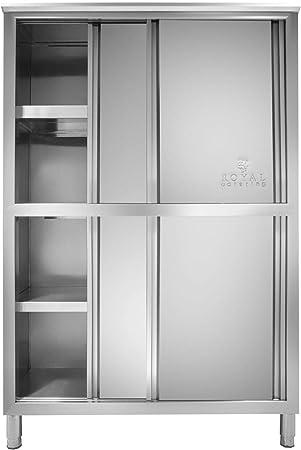 Royal Catering Armario para Vajilla Mueble De Cocina RCGE-120 (Fabricado En Acero Inoxidable, 4 Puertas Correderas, 4 Estantes, 120 cm): Amazon.es: Hogar