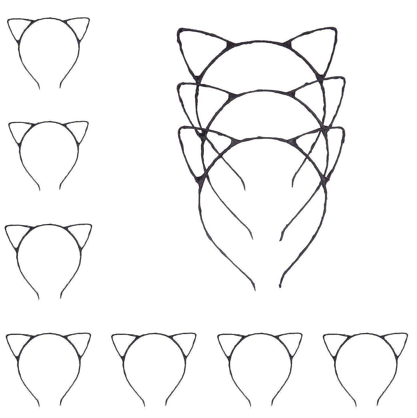 Bonnie Z Leonardo Girls光沢猫耳ヘアバンドヘッドバンド  Glossy Cat Ears Headband Black 10pcs B0727QZLGS
