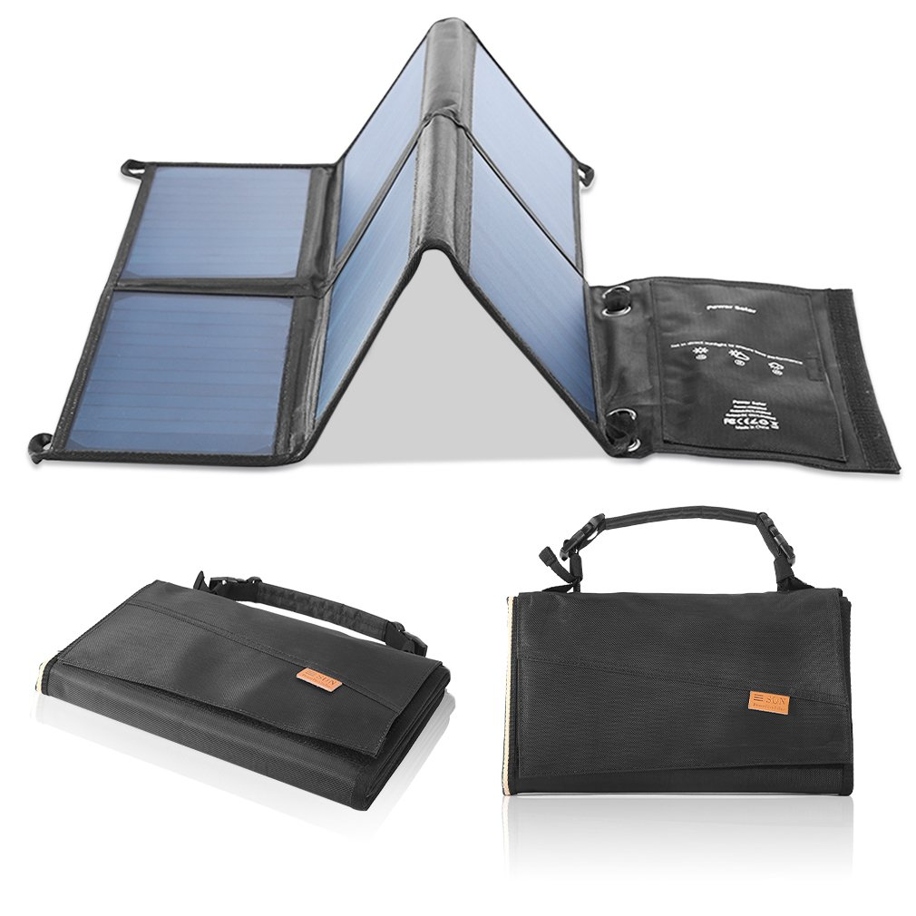LESHP Highest Efficient Solar Charger 40W Foldable Sunpower Solar Panel Charger Dual Output (5V USB + 12V DC) For StorageBattery, iPhone, iPad, Android Smart Phone by LESHP (Image #8)