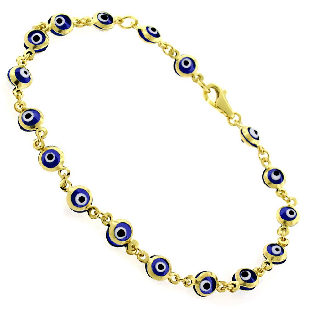 14k Yellow Gold Childrens 4mm Dark Blue Evil Eye Bead Good Luck Charm Bracelet Chain 6'' by In Style Designz (Image #1)
