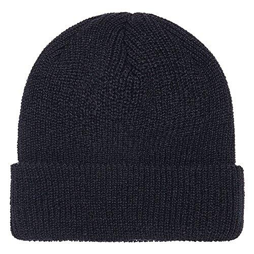 FLEXFIT Ribbed Cuffed Knit Warm Winter Beanie Hat - BLACK