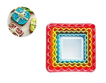 Somine Moldes para Galletas en Plástico(5 piezas), formas de Cuadrado, Sin