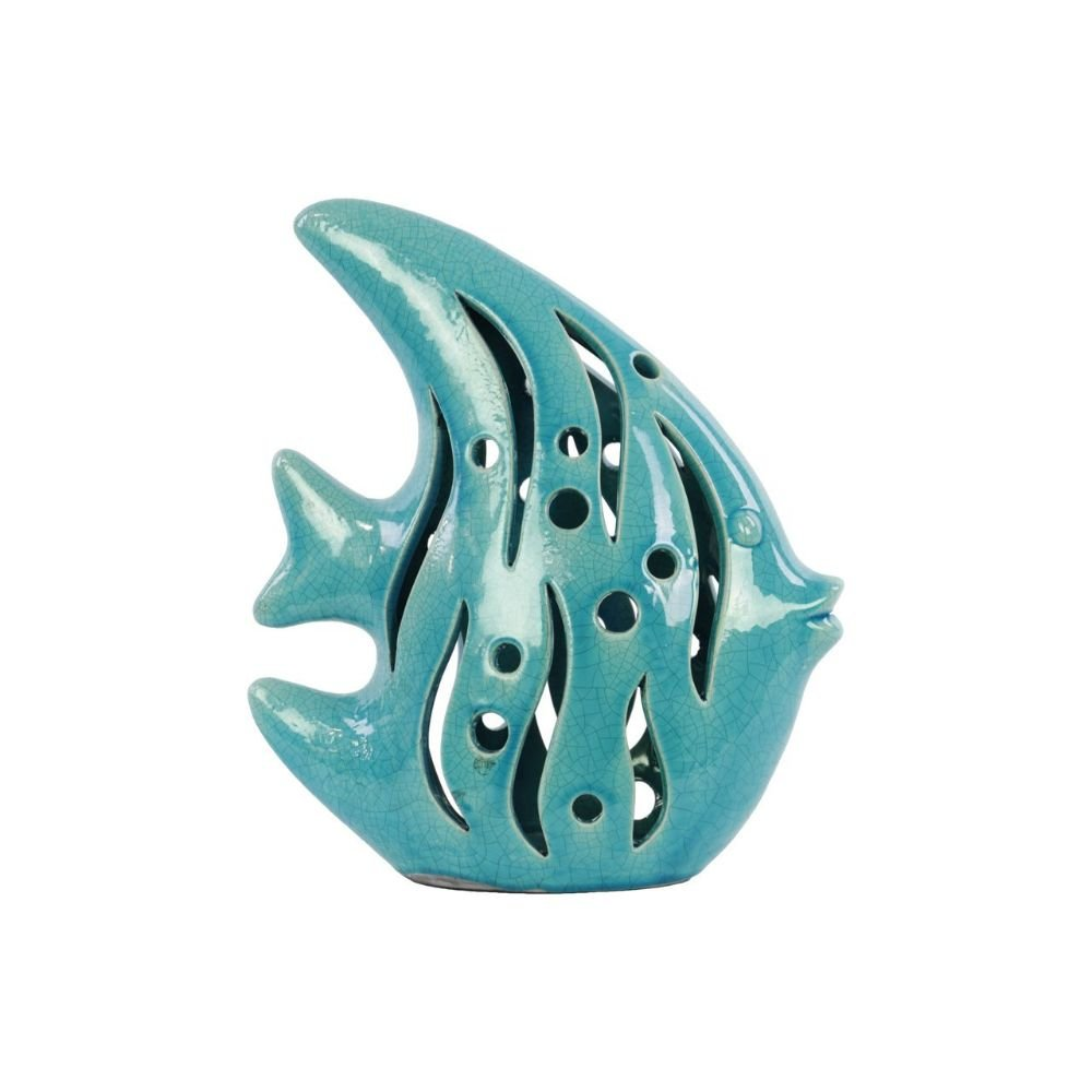 Urban Trends Collection 13802 Ceramic Fish Figurine, Gloss Turquoise B00QIY4ZE4