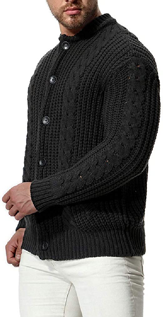 AngelSpace Mens Casual Sweater Classic-Fit Slim Fit Button Knit Open-Front