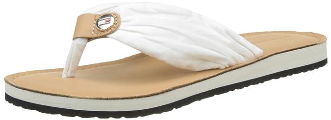 Tommy Hilfiger Damen Leather Footbed Beach Sandal Zehentrenner, Weiß (Whisper White 121), 40 EU