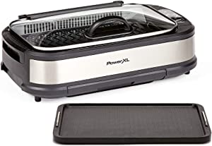 PowerXL Smokeless Grill with Tempered Glass Lid and Turbo Speed Smoke Extractor Technology. Make Meals Inside With Virtually No Smoke (Stainless Steel Pro with Hinged Lid and Griddle Plate)