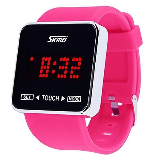 Skmei reloj Digital Unisex niña correa de PU correa de goma rosa pantalla táctil LED Jelly reloj + caja: SKMEI: Amazon.es: Relojes