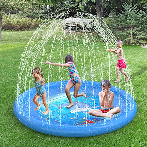 Sprinkler and Splash Play Mat, 67 Inch Inflatable Sprinkle Pad - Water Toys Wading Pool for Learning, Children Sprinkler Pool Outdoor Swimming Pool for Toddlers Boys Girls and Kids