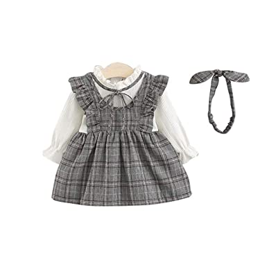 e7c41e30bb AIKSSOO Infant Baby Girls Outfit Vintage Pleated Collar Ruffle Long Sleeve  Dress Size 90(12