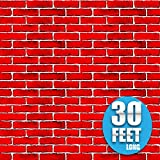 Red Brick Wall Photo Booth Props 4 Foot x 30 Foot | Party Supplies Decoration | Background for Pics and Holiday Decoration
