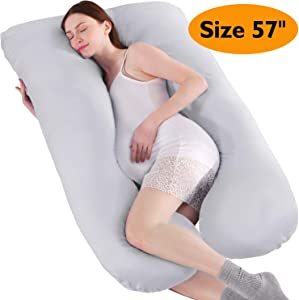 "BATTOP U Shaped Full Body Maternity Pillow for Pregnant Women with Washable Premium Cotton Cover - Size 57"" (Light Gray)"
