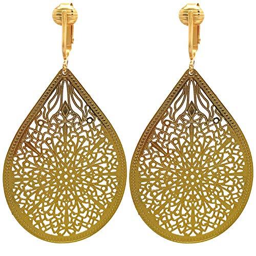Lovely Victorian Filigree Clip On Earrings for Women Clip-ons, Lightweight Teardrop Leaf Dangle (Gold-tone) ()