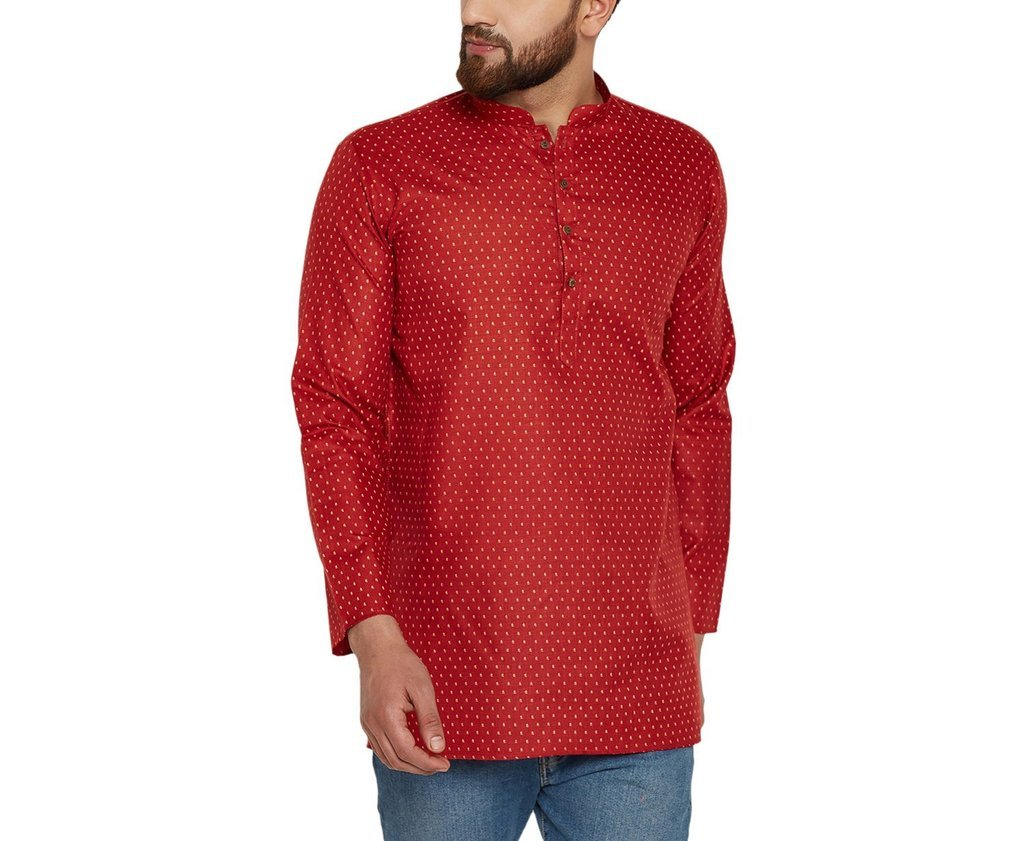 CRAFTSTRIBE Men'S Cotton Linen Printed Short Kurta