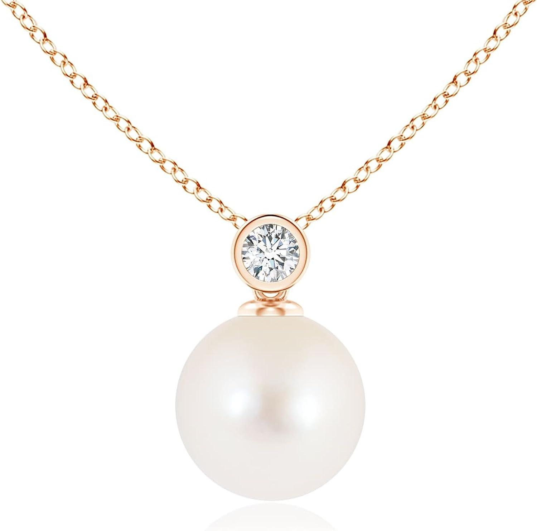 Negro viernes–Perla cultivada de agua dulce y bisel diamante Colgante Collar para las mujeres