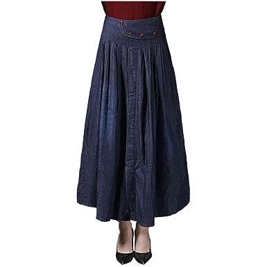 c8f17ba8e90 2018 Skirt Women High Waist Button Denim Skirts Plus Size S-6XL Casual  Pleated Long