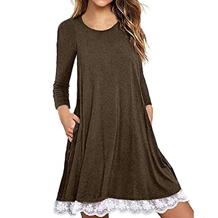 8f24d35313a5e Image Unavailable. Image not available for. Color: Dressin Elegant Women's  Long Sleeve Cotton Lace T Shirt Dress with Pockets