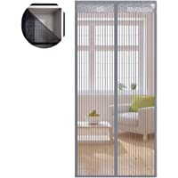 Liveinu Unique Design Reinforced Magnetic Screen Door Fits Doors up to 200x240cm with Full Frame Hook & Loop Fly Mosquito Curtain Grey 70x200cm