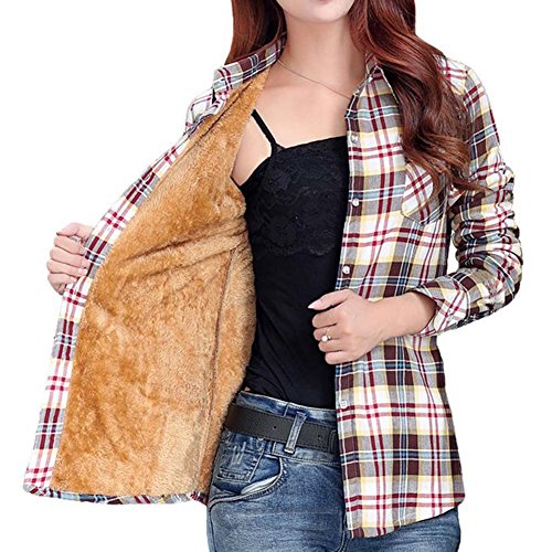 Lined Long Sleeve Blouse - Totoship Long Sleeve Plaid Flannel Warm Shirt Fleece Lined Blouse Up
