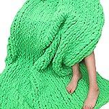 Huge Chunky Green Chenille Knit Blanket Super Chunky Hand Knit Throw,Hand Knitted Chenille Throw Blankets,Thick Knit Blanket 47''x59'' Boy Girl Gift