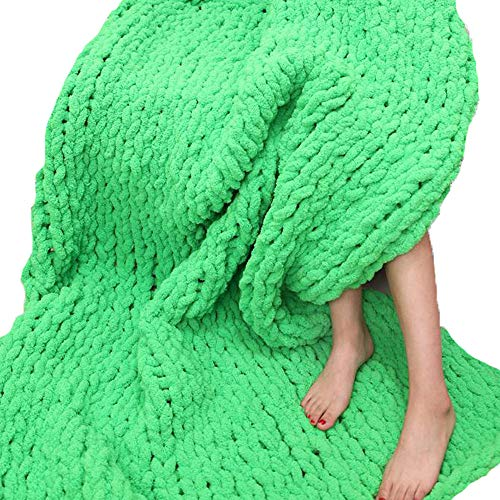 Huge Chunky Green Chenille Knit Blanket Super Chunky Hand Knit Throw,Hand Knitted Chenille Throw Blankets,Thick Knit Blanket 47''x59'' Boy Girl Gift by Vesna market (Image #3)