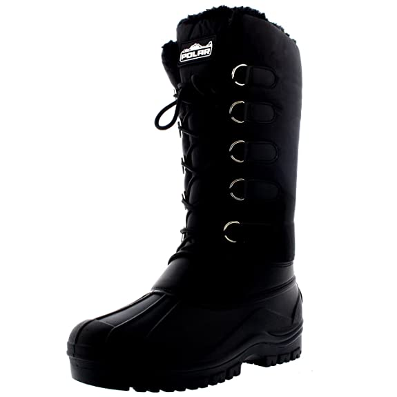 POLAR Womens Muck Lace Up Rain Nylon Durable Winter Snow Duck Mid Calf Boots - 8 - BLK39 YC0139 best women's snow boots