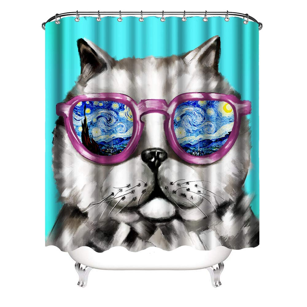 VividHome Cool Glass Cat Shower Curtain Cute Galaxy Hipster Cat Wearing Colored Sunglasses 3D Shower Curtain Fabric Bathroom Decor Set with Hooks 72X72 inches