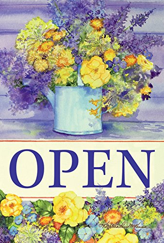 Toland Home Garden Open Watering Can 28 x 40 Inch Decorative Spring Flower Business Sign Double Sided House Flag
