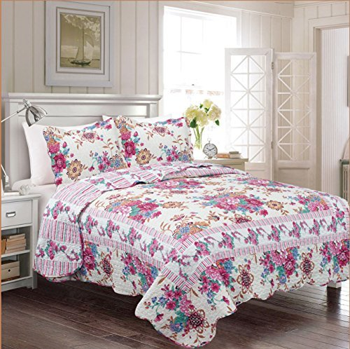 Fancy Collection 3pc Bedspread Bed Cover Floral Off White Pink Teal Blue Red Gold Reversible New # Tara (King)