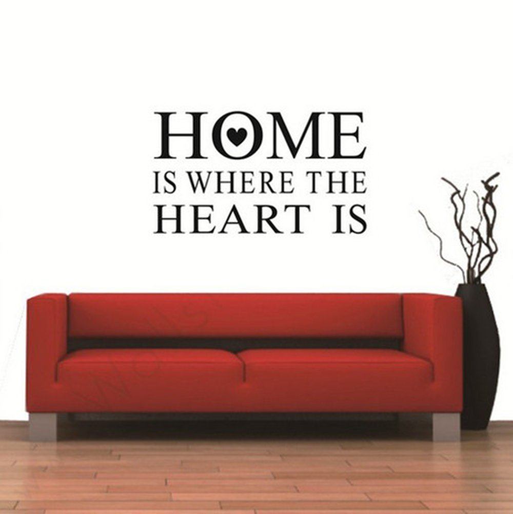 amazon com home is where the heart is quote wall stickers vinyl amazon com home is where the heart is quote wall stickers vinyl decal removable room decor home kitchen