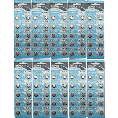 SUNCOM (100 pcs) AG13 Alkaline 1.5V Button Cell Battery Single Use LR44 A76 G13R S76E MS76H MS76 Watch Toys Remotes Cameras