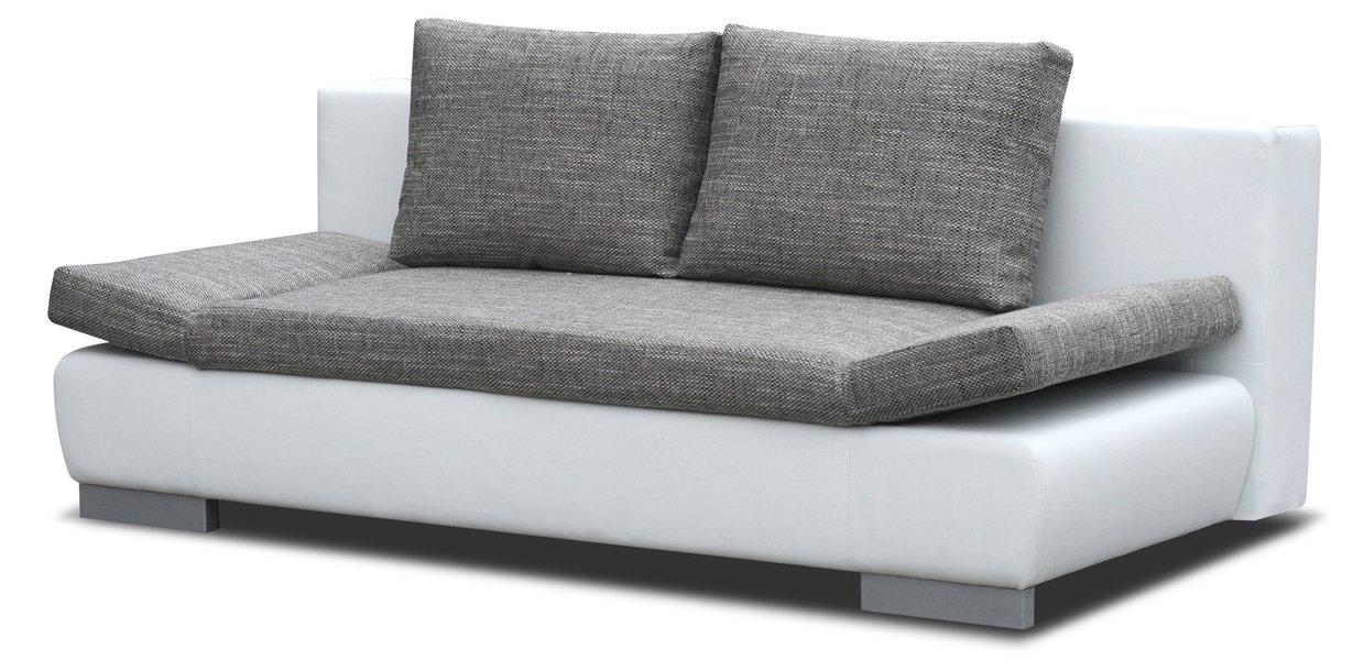 Sofa Leandro In Grau Weiß Mit Bettfunktion Und Staukasten