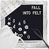 Changeable Letter Board Felt Message-Board – Handsome White Oak Wood Letterboard with 346 Letters and Emojis, Stand, Tight-Fit Black Felt, 10x10 inch