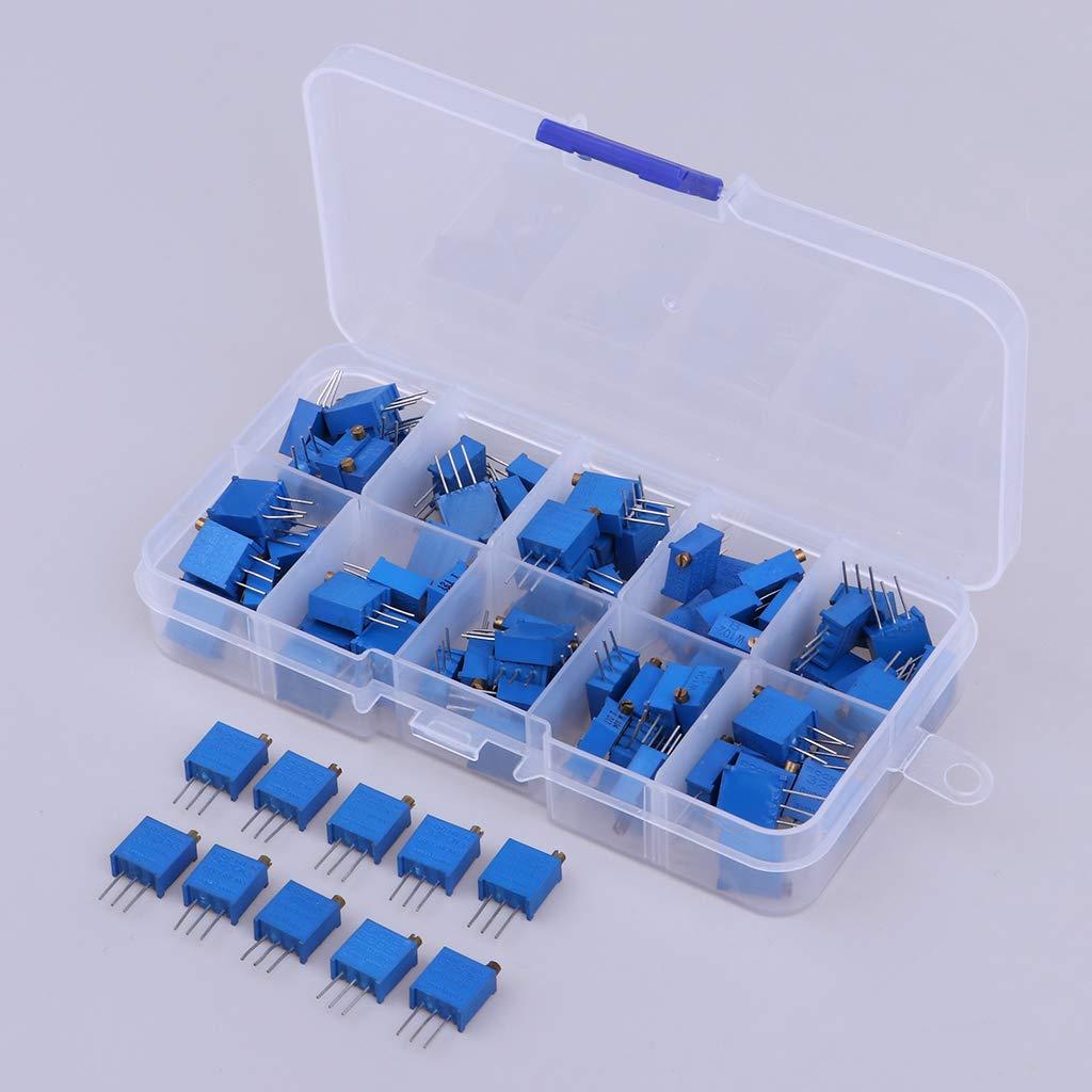 H HILABEE 100Pack Multiturn Cermet Trimmer Pot Resistor Ajuste Superior 100-500K Ohm