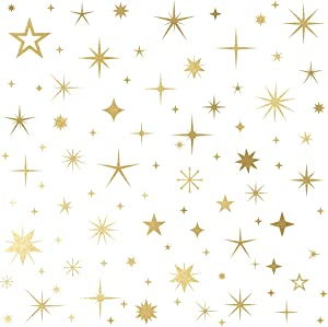 Mozamy Creative Sparkle Star Wall Decals (147 Count) Sparkle Wall Decals Gold Star Decals Bedroom Wall Decals Removable Peel and Stick Wall Decals, Vintage Gold