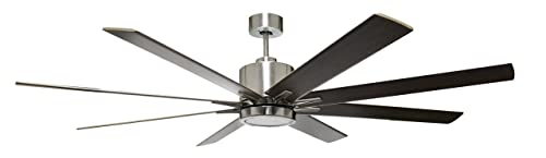 HOMEnhancements METRO 8-blade 66 in. Brushed Nickel Ceiling Fan with 16w LED light kit 3000k